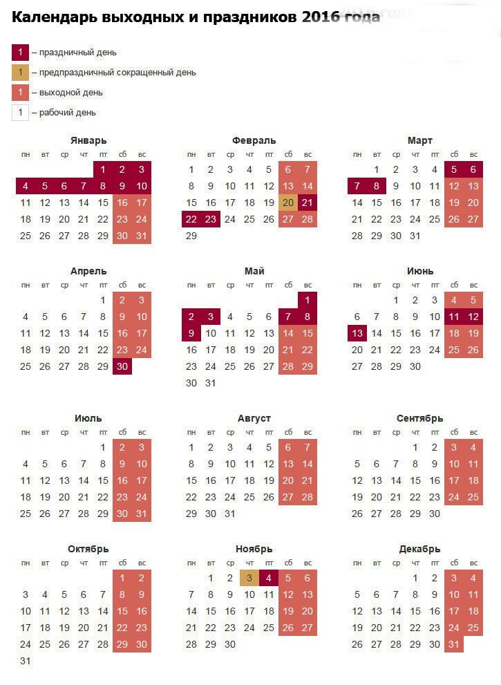 ПРОИЗВОДСТВЕННЫЙ КАЛЕНДАРЬ НА 2016 ГОД С ПРАЗДНИЧНЫМИ ДНЯМИ СКАЧАТЬ БЕСПЛАТНО