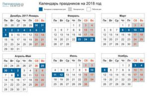 УТВЕРЖДЕН ГРАФИК ПРАЗДНИЧНЫХ ДНЕЙ В 2018 ГОДУ
